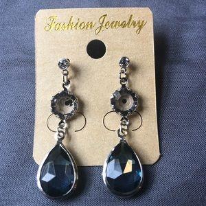 Jewelry - Blue Crystal Stone Drop Earrings W/ Rhinestone
